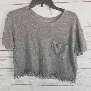 Hollister Cropped Crochet Fringe Blouse Short